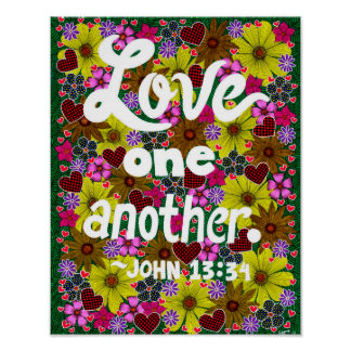 Flowers And Hearts Doodle Typography Bible Verse Poster