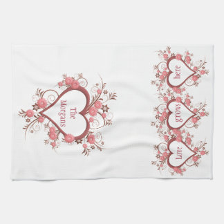 Flowers and Hearts Love Grows Here and Family Name Tea Towel