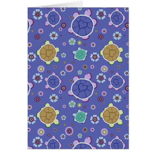 Flowers and Hearts Turtle Pattern Card