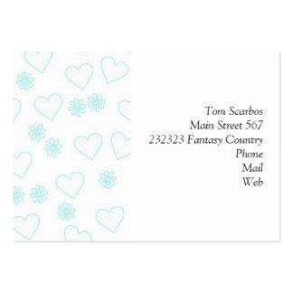 flowers and hearts.white pack of chubby business cards