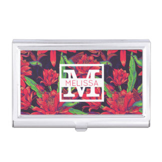 Flowers And Hummingbirds | Add Your Name Business Card Holder