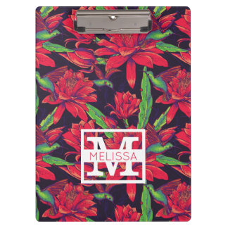 Flowers And Hummingbirds   Add Your Name Clipboard
