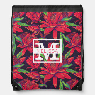 Flowers And Hummingbirds | Add Your Name Drawstring Bag
