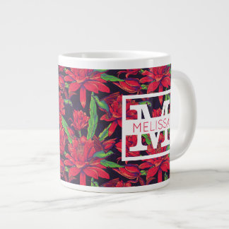 Flowers And Hummingbirds | Add Your Name Large Coffee Mug
