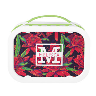 Flowers And Hummingbirds | Add Your Name Lunch Box