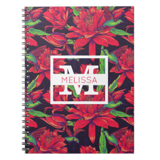 Flowers And Hummingbirds   Add Your Name Notebooks