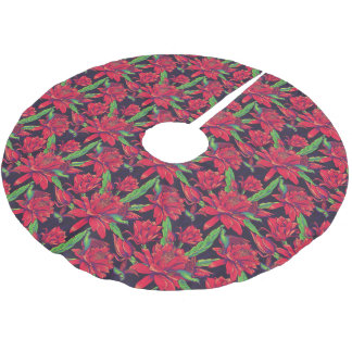 Flowers And Hummingbirds Brushed Polyester Tree Skirt
