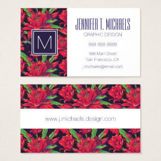 Flowers And Hummingbirds Business Card