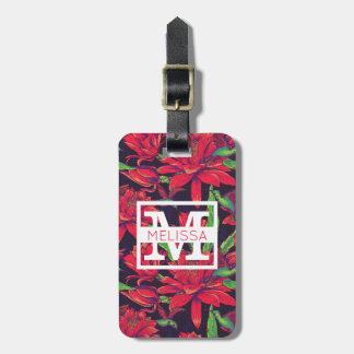 Flowers And Hummingbirds | Monogram Luggage Tag