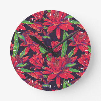 Flowers And Hummingbirds Round Clock