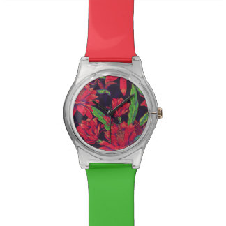 Flowers And Hummingbirds Wristwatch