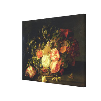 Flowers and Insects, 1711 (oil on panel) Canvas Print
