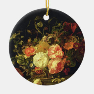 Flowers and Insects, 1711 (oil on panel) Round Ceramic Decoration