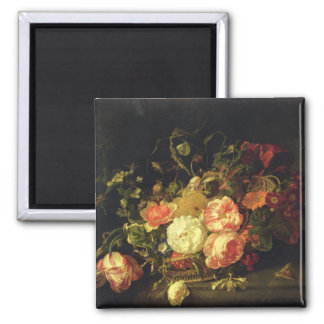 Flowers and Insects, 1711 (oil on panel) Square Magnet