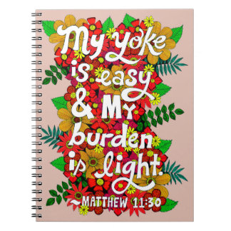 Flowers And Leaves Doodle Typography Bible Verse Notebooks