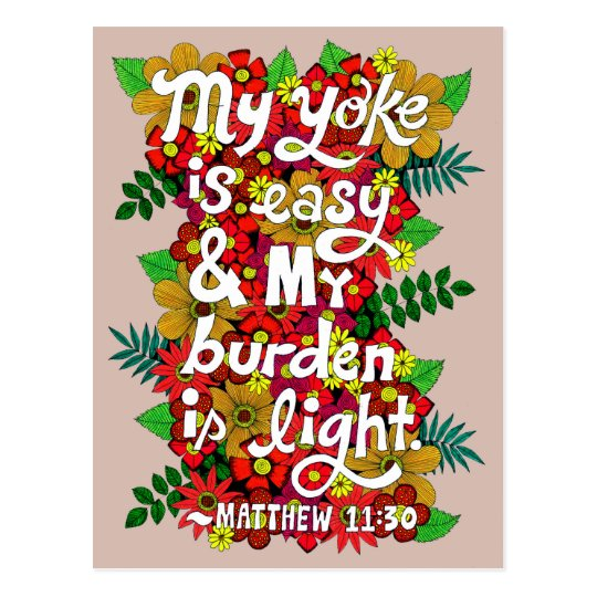Flowers And Leaves Doodle Typography Bible Verse Postcard