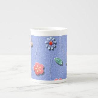 Flowers and leaves windy day bone china mug