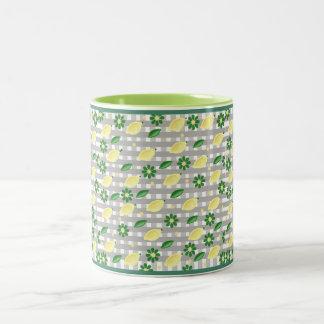 flowers and lemons Two-Tone mug