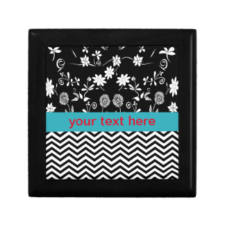 flowers and monogram small square gift box