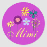 Flowers and name round stickers