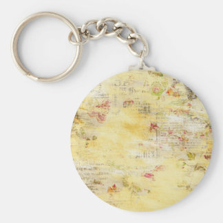 Flowers and Paint Vintage Newspaper Keychain