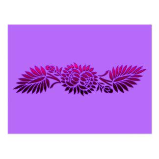 Flowers and Palms Fuscia Postcard