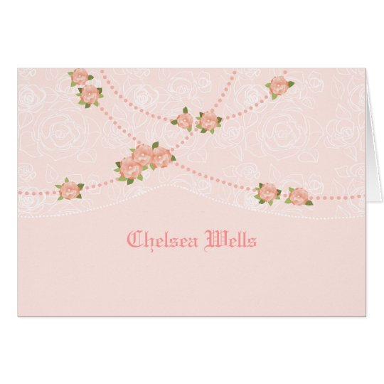 Flowers and Pearls Personalised Notecard