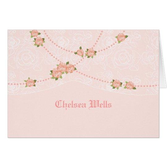 Flowers and Pearls Personalised Notecard