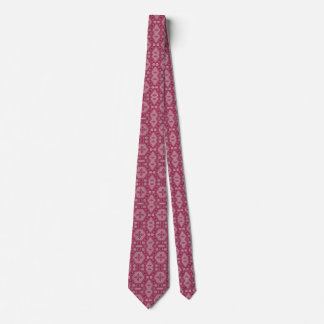 Flowers and Shapes in Raspberry Red Tie