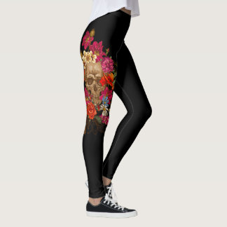 Flowers and Skulls Leggings
