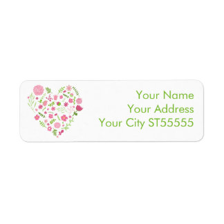 Flowers and Steams Heart Pink and Green Return Address Label