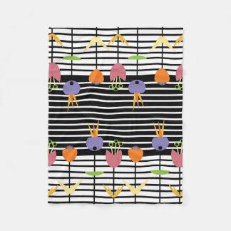 Flowers and Stripes Fleece Blanket