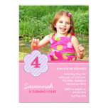 Flowers and Stripes Girls Photo Birthday Invite Invites