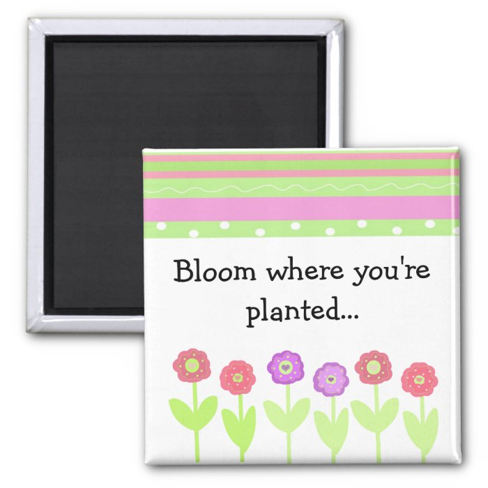 Flowers and Stripes with Saying Square Magnet