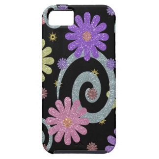 Flowers and Swirls on Black iPhone 5 Case