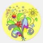 Flowers and Swirls with Star Sticker