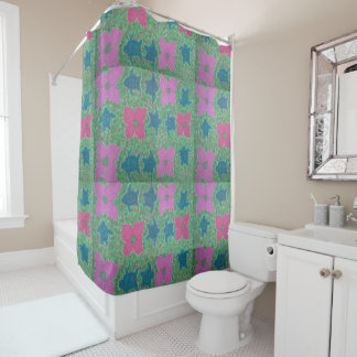 Flowers and Turtles Tropical Shower Curtain