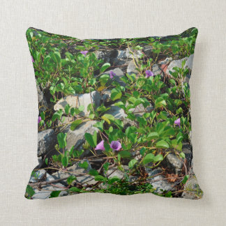 flowers and vines on river rocks florida scene throw cushions