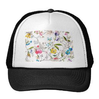 Flowers and Vines Textile Print Cap