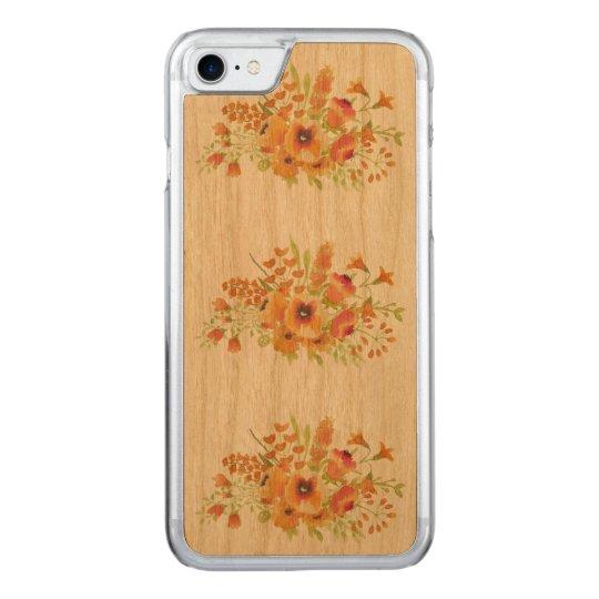 flowers Apple iPhone 7 Slim Cherry Wood Case