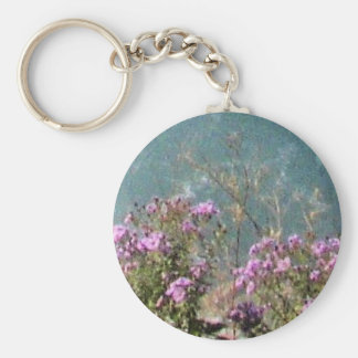 Flowers at Falls Basic Round Button Key Ring