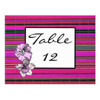 Flowers & Bamboo Wedding Reception Table Numbers Postcard