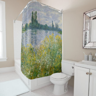 Flowers Banks of Seine Vetheuil Monet Fine Art Shower Curtain