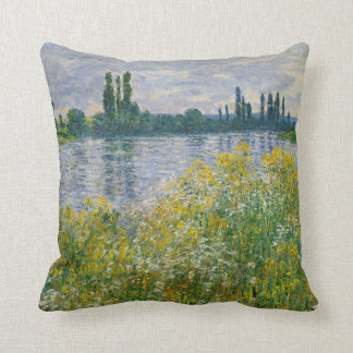 Flowers Banks of Seine Vetheuil Monet Fine Art Throw Pillow