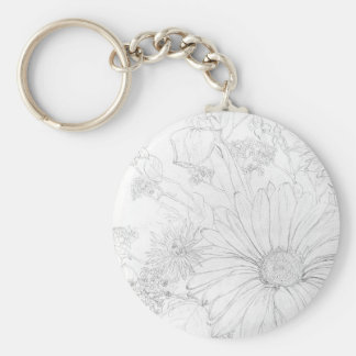 Flowers Basic Round Button Key Ring
