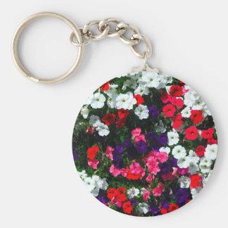 flowers basic round button key ring