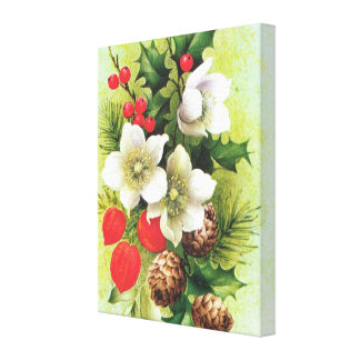 Flowers, berries and pine cones canvas print
