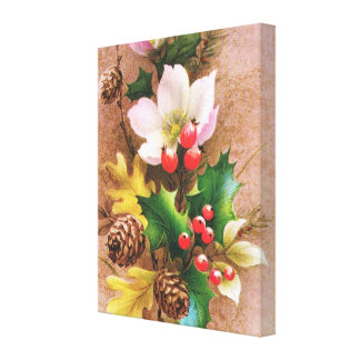 Flowers, berries and pine cones stretched canvas print
