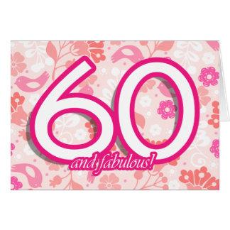 Flowers & Birds Bright Pinks 60th Birthday Card