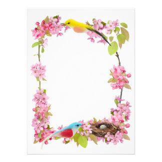 Flowers Birds Nest Custom Invitation